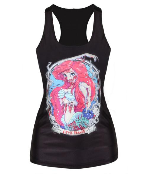 New arrive 2015 Blood Mermaid Skull Cadaver Print Women tank top Fashion Black Camisole Sexy Female Vest Tanks(China (Mainland))