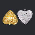 20pcs 25mm 26mm Multi color DIY Jewelry Brass Hollow Gold Silver Plated Photo Heart Lockets Essential
