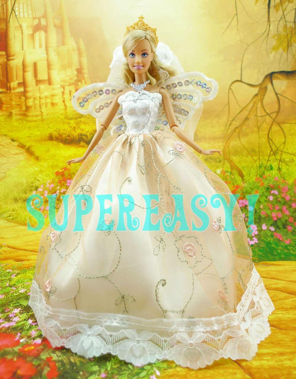 Fairy Tale Dress With Butterfly Wings Princess Wedding Party Gown Bridal Veil Clothes For Barbie Doll Girl Birthday Gift Toy<br><br>Aliexpress