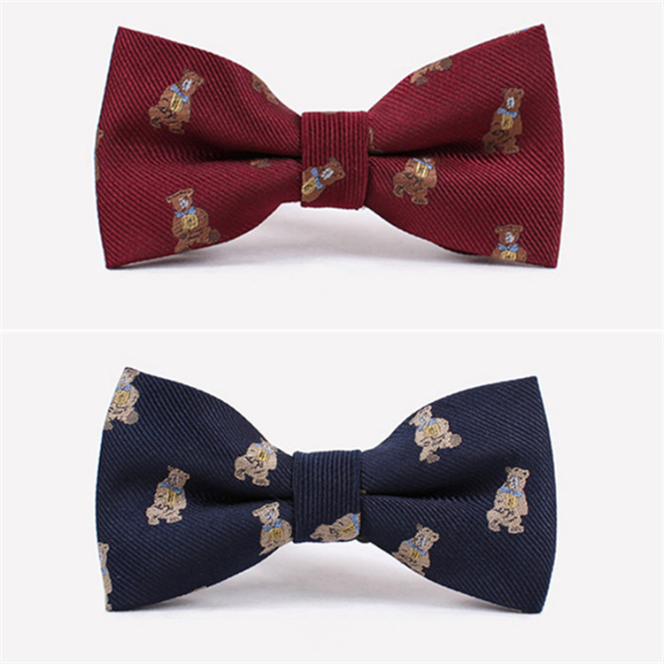 Free shipping 2014 NEW Best Selling men's cartoon bowtie lovely bear good quality used in wedding and party yellow blue(China (Mainland))