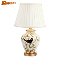 Ceramic table lamp bedroom bedside lamp European style garden wedding fashion warmly decorated lamp dimmable