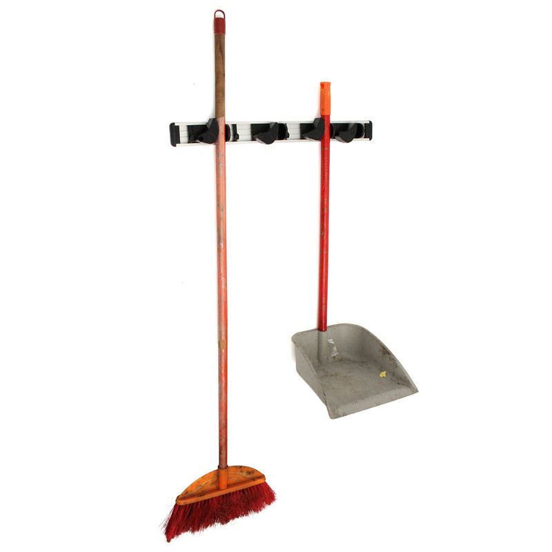 Kitchen Bathroom Hanger Mop Holder Organizer Wall Mounted Storage Hooks Rack Tool 4 Position 5 Hooks for Shelving Ideas(China (Mainland))