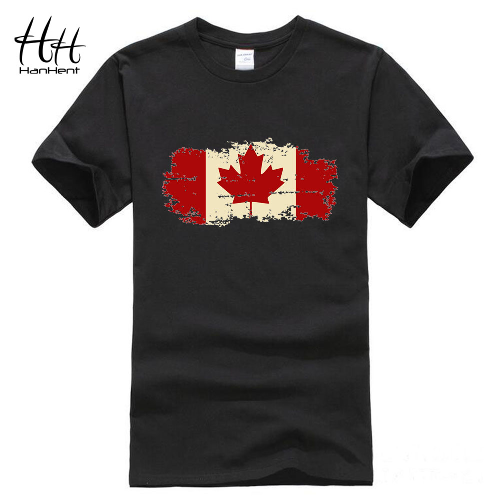 Hanhent canada flag 2016 new fashion tee shirts cotton for Made in canada dress shirts