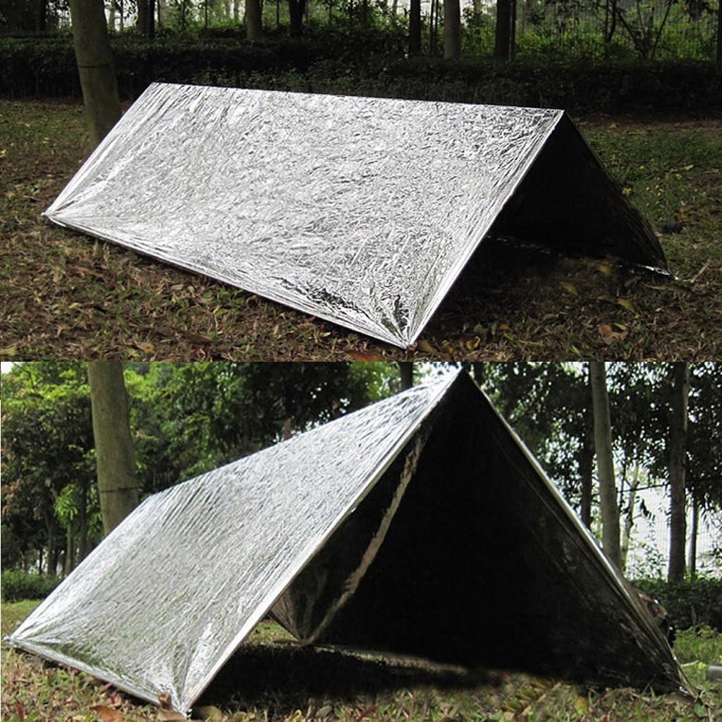 Supervivencia Manta t/érmica Manta para Camping Rescate Leezo Reutilizable Bolsa de Viaje Senderismo Saco de Dormir de Supervivencia para Exteriores