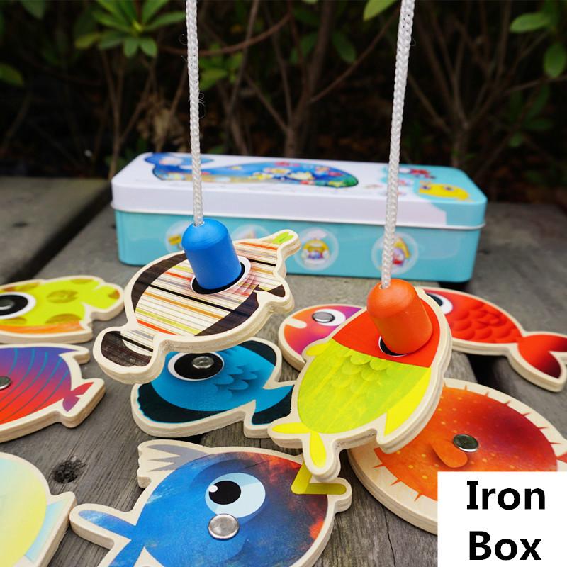 Baby Educational Toys Large Size 15Pcs Fish Wooden Magnetic Fishing Toy Iron Box Set Fish Game Child Birthday/Christmas Gift(China (Mainland))