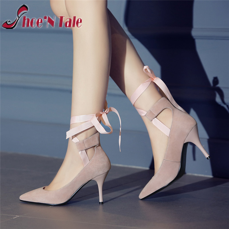 Shoe'N Tale women sexy pumps thin high heels lace-up Ribbons 2016 spring new dress shoes for women pointed toe zapatos mujer
