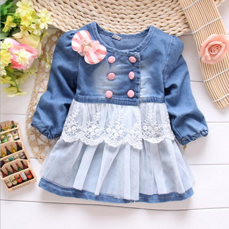 Retail baby girls coat jacket blue Girls jackets denim children's outerwear & coats Spring autumn lace C210 - C&M Team Kids Store store