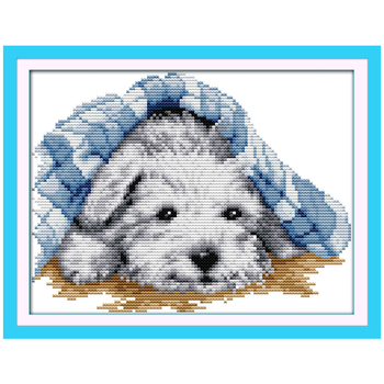 Small Lovely Dog Counted Cross Stitch 11CT 14CT DMC Cross Stitch DIY Cross Stitch Kits for Embroidery Home Decor Needlework