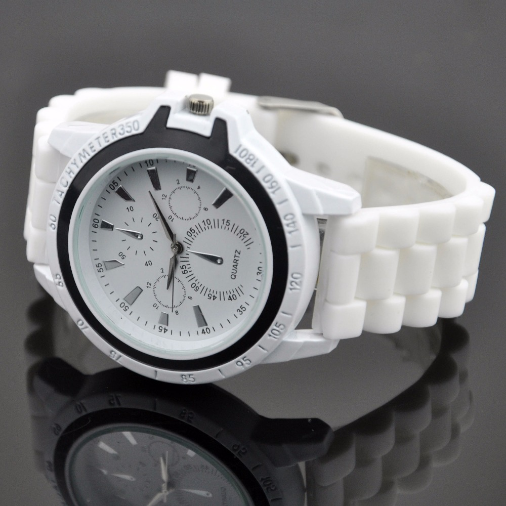 ice cream band men watches free shiping watches stainless steel white with black circle watches(China (Mainland))