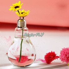 Transparent Clear Light Bulb Stand Glass Plant Flower Vase Hydroponic Container Pot Wedding Home Decor Crafts(China (Mainland))