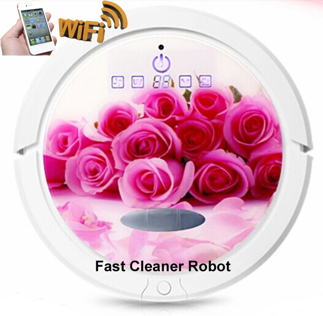WIFI Smartphone APP Control Wireless Wet and Dry Vacuum Cleaner Robot With Water Tank,Self-Charging,Schedule,UV(China (Mainland))