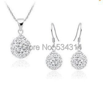 MSS1 2014 Low prcie Crystal Shamballa Necklace Earrings Jewelry Set shamballa set Wedding - Magical Girl store