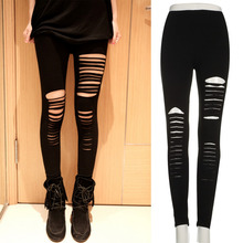 Fashion Women Lady Punk Hole Ripped Slit Split Leggings Party Gothic Pants hot new 2016 Hot Sale(China (Mainland))