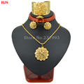 Cooper plataed Ethiopian Jewelry 22k Gold Plated Pendant Chain Earring Ring Big Bangle African Wedding sets