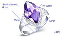 Korean Red Purple Created Diamond Wedding Ring 925 Sterling Silver Ruby Amethyst Engagement Party Bague 60