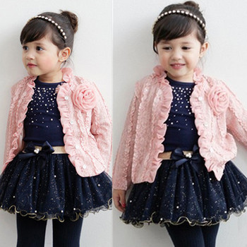 2014 New autumn girls clothing sets 3 pieces suit girls flower coat + blue T shirt + tutu skirt girls clothes free shipping