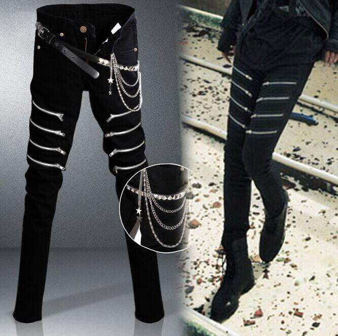 2015 Korean New Designer Black Skinny Jeans Men Denim Pants Slim Rock Punk Jeans With Chain-in ...