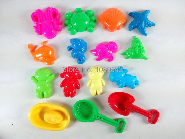 Free shipping summer beach toy plastic kid toys small boat garden tools sand mold outdoor toys 15pcs/set(China (Mainland))