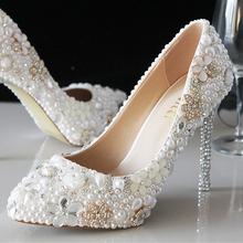 Fashion Wedding Shoes Crystal Women wedding shoes White bridal shoes handmade diamond pearls Women High Heel Pumps, EU35-39!(China (Mainland))