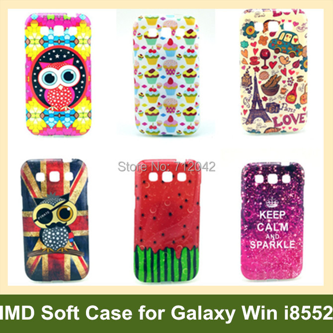Lovely Ice Cream Mustache Effiel Tower Animal Owl Soft IMD Cover Case for Samsung Galaxy Win i8552 30pcs/lot Free Shipping