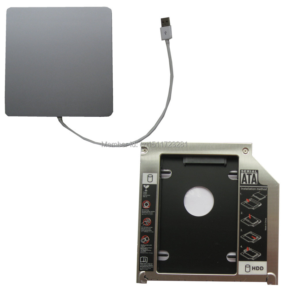 Oem USB Superdrive Enclosure and Second Hdd Caddy 2nd Hdd Ssd AppleMacbook Pro Mc975ll/a Mc976ll/a Unibody(China (Mainland))