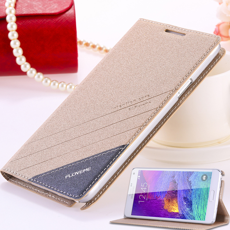 Floveme Smart Phone Bag Sleeve For Samsung Galaxy Note 4 IV Wallet Stand With Card Holder Cover N910C/N910F/N910S/N910L/N910K(China (Mainland))