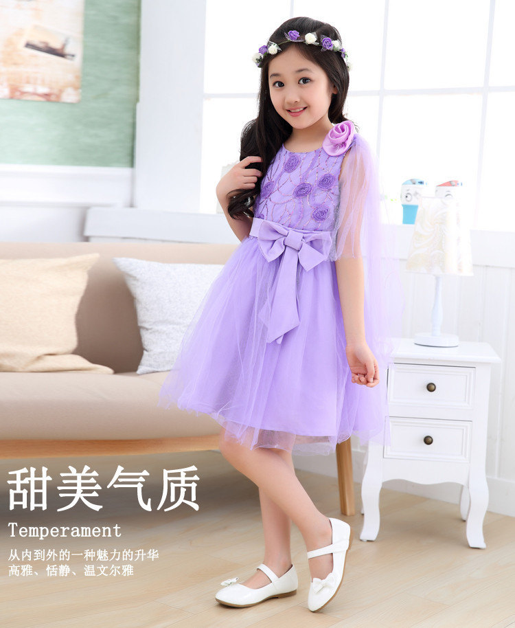 Bonnie Cute Tulle Baby Girl Lace Soli Color Dresses Children Kids Bowknot Flower Decoration Formal Dress BD0015(China (Mainland))