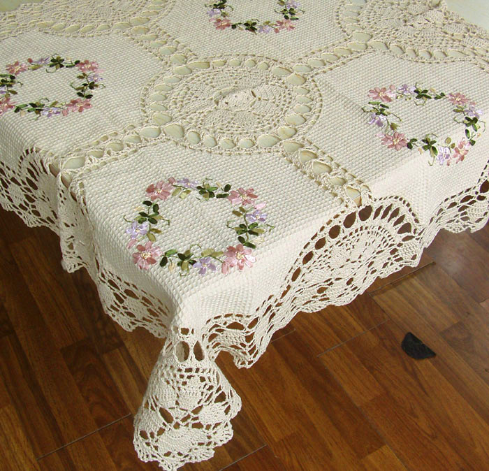"""In Stock 100% New Handmade cotton Embroidered tablecloth inventory 8902 36""""(86X86 cm)(China (Mainland))"""