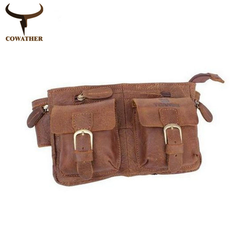 2015 Top quality brown casual waist bags for men cow Genuine leather,exquisite craft casual style men waist pack free shipping(China (Mainland))