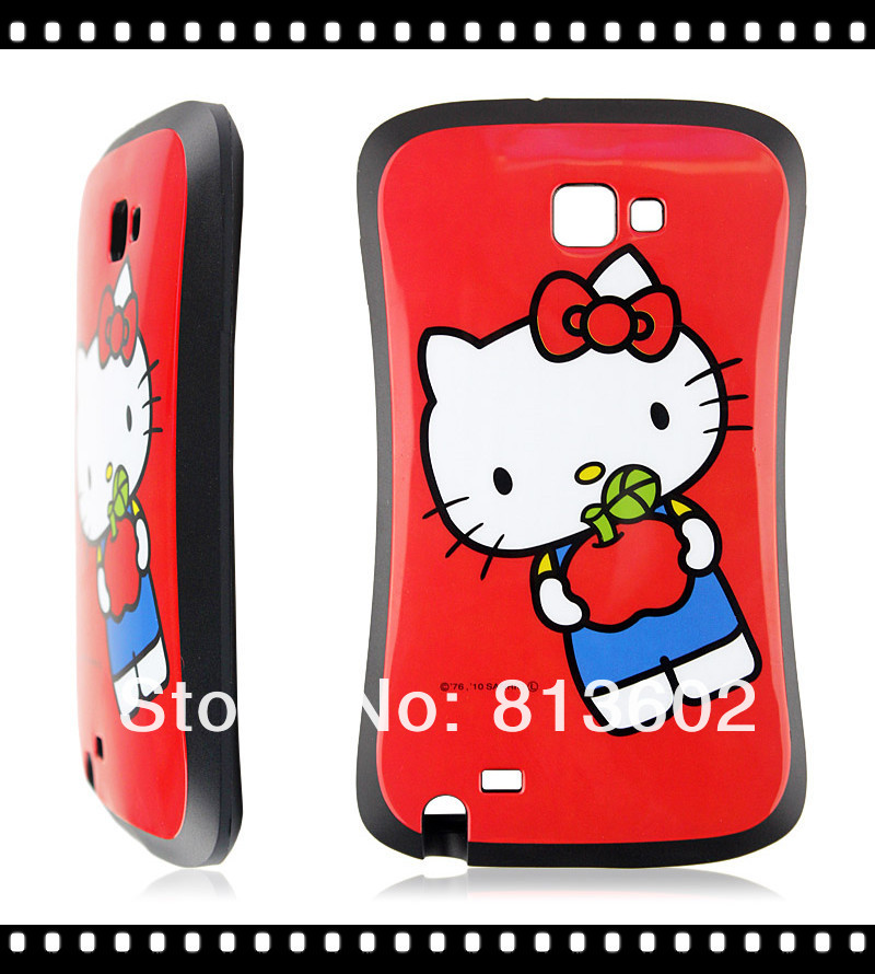 Cute 3D Ultra Shock-Absorbing Tpu iFace Hello Kitty Wholesale China Case for Samsung Galaxy Note 2 II N7100 Cover Pouch(China (Mainland))