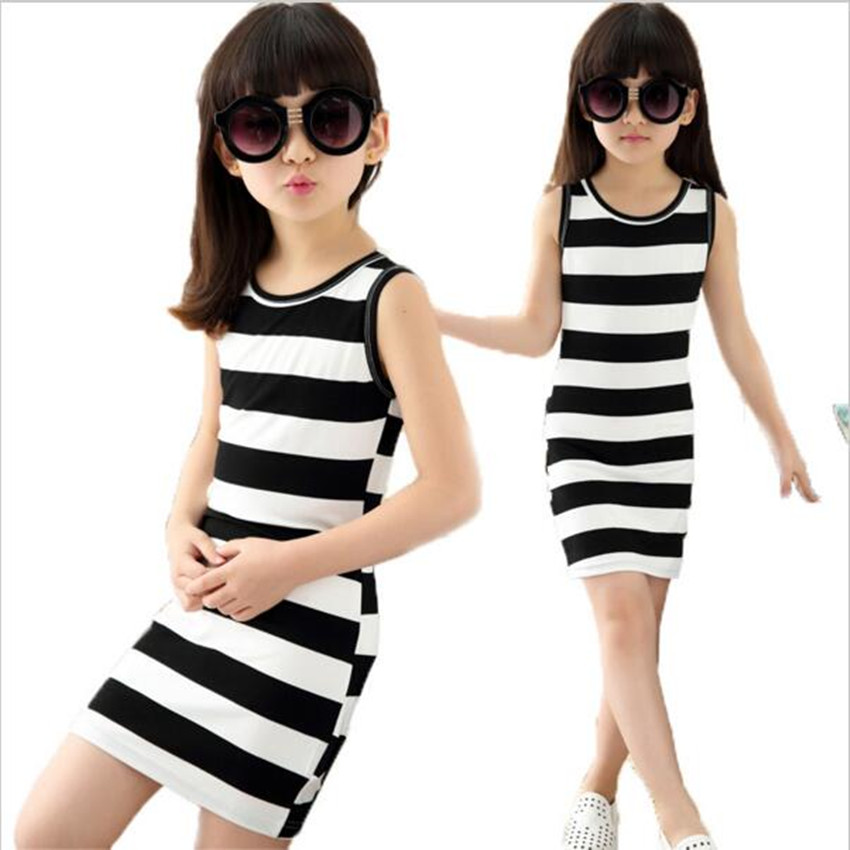 Children dressed in black clothes and white stripes 100% Cotton 3-14 years old vest dresses for teens(China (Mainland))