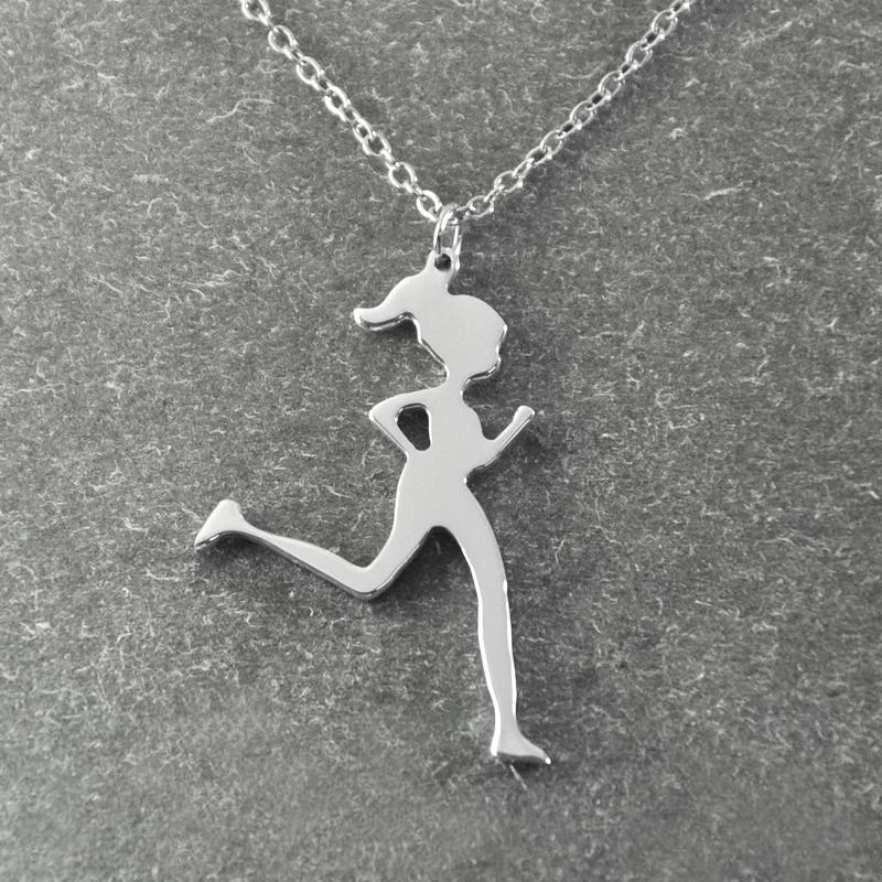 Runner Jewelry , Runner Necklace , jogging girl , Running Girl pendant , Jogger Necklace , Sports Necklace , Christmas Gift(China (Mainland))