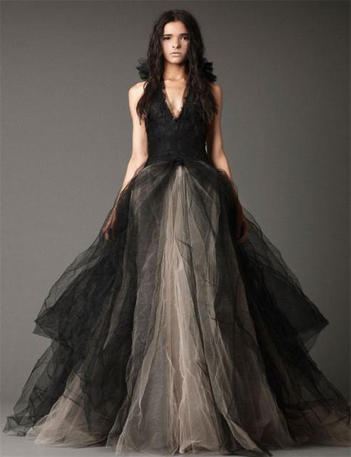 Рождество тюль длиной до пола устали off-плечи v-образным вырезом свадебное платье черного свадебные платья ограниченной черный готические свадебные платья