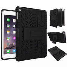 For iPad mini4 Antiskid Tablet Case Rugged Rubber Armor Quality PC Hybrid Kickstand Cases For Apple iPad Mini 4 stand Cover(China (Mainland))