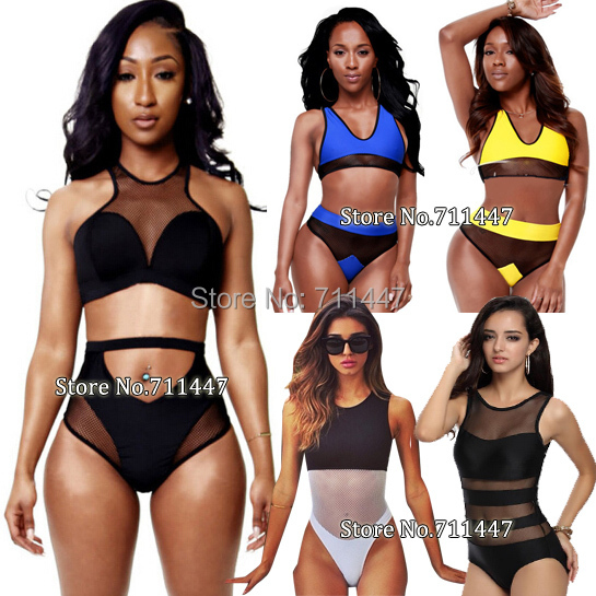 2015 Black Transparent Bikini Bathing Suit Mesh Swimsuit Brazilian High Neck Crop Top Swimwear See Through Swimwear For Women(China (Mainland))
