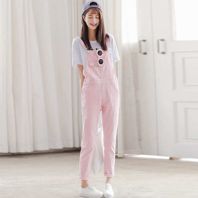 Vintage Overalls Women Denim Jeans 2016 New Casual Summer Overalls Pink White Black Denim Overalls Trousers WYS12(China (Mainland))