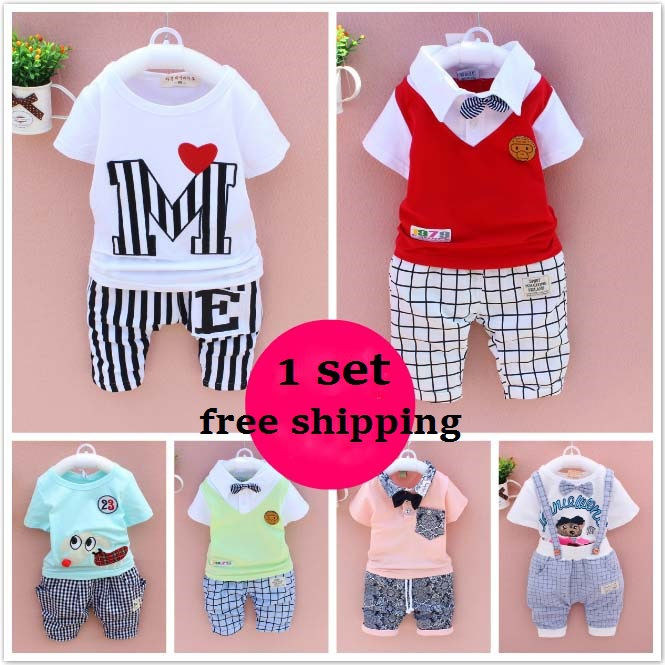 2015 Summer casual boys clothing Children short-sleeve t-shirts+pants baby boy child vest set baby 1-5 years old child clothes(China (Mainland))