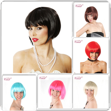 A+ Quality!10 Colors Bob Women Short Wigs Black Ladies Synthetic Wigs Women Short Straight Hair Cosplay Wigs Brown RED H05