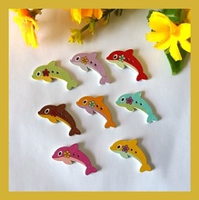 Buy Lovely Dolphin Shapes Mix 50pcs white Flatback Wooden Decorative buttons Hand made Craft Scrapbooking botones Sewing accessories for $2.39 in AliExpress store