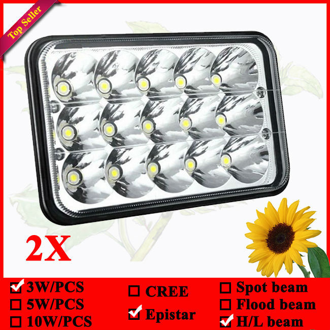 """pair 6"""" x 4"""" 45W LED sealed beam 7"""" LED auxiliary driving light high/low beams(China (Mainland))"""