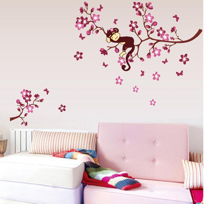 Hot Sale Pink Monkey Branches Wall Stickers For Kindergarten ...