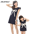 New Matching Mother And Daughter Dresses Clothes 2016 Print Bow Girl Dress Women Sleeveles Vestidos Family