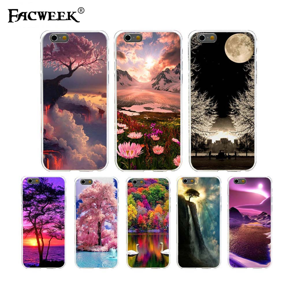"""Pretty Photo Cherry Blossoms Sunset Snow Lotus Cell Phone Case Coque For Apple iPhone6 6s 4.7"""" Back Cover Mobile Phone Shell(China (Mainland))"""