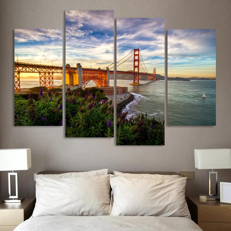 Online kopen wholesale golden gate bridge paintings uit china golden gate bridge paintings - Schilderij decoratie voor woonkamer ...