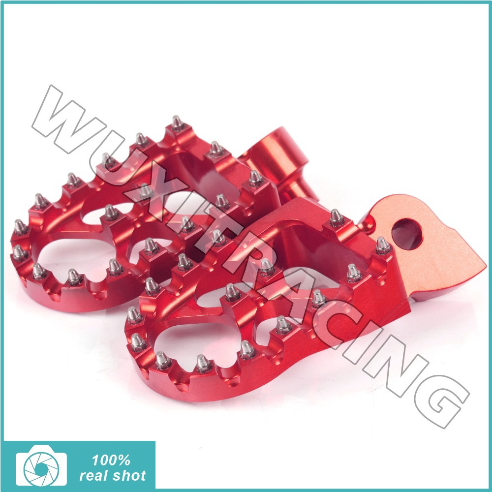RED MX Motocross Wide Fat Footpegs Footrests for Yamaha YZ 85 125 250 YZF250 YZ426F YZF 450 99-15 00 06 07 08 09 10 11 12 13 14<br><br>Aliexpress