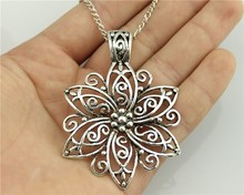 WYSIWYG fashion simple antique silver tone 66*47mm BIG Flower pendant necklace , 70cm chain long necklace(China (Mainland))