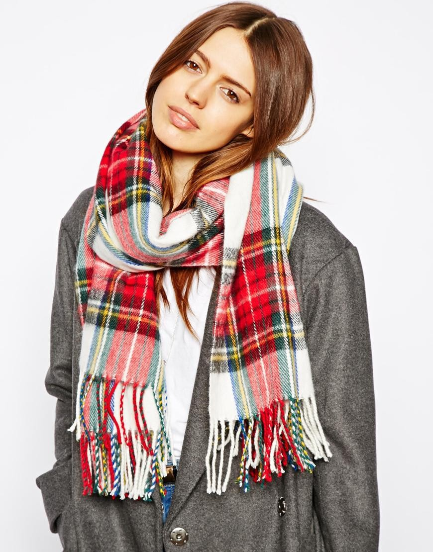 Free Shipping 2015 New Fashion Women font b Tartan b font White Check Scarf With Tassels
