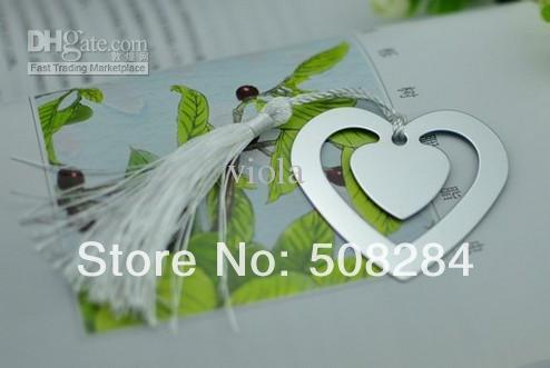 Wholesale - Heart Silver Bookmarks Wedding Favors Gifts Metal Bookmarks Hot Sell Wedding Collections+Free Shipping 200pcs/lot(China (Mainland))