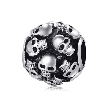 Unique full skull beads charm big hole loose beads fit european pandora diy bracelet necklace cranial head beads fine jewelry