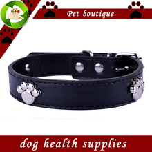 Fashion Dog Collars Personalized Paw Accessories Pu Leather Collar Black Red Yellow Green Colors Collar Lead Pet Products(China (Mainland))